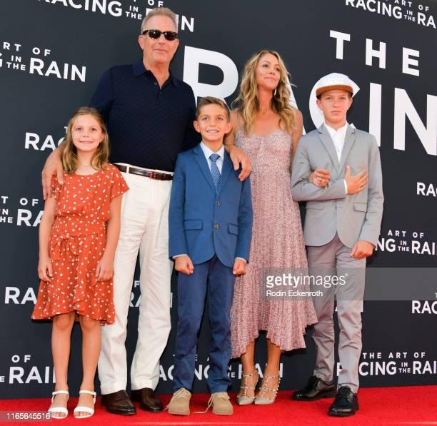 Grace Avery Costner Kevin Costner Hayes Logan Costner Christine Baumgartner and Cayden Wyatt Costner attend the premiere of 20th Century Fox's The...