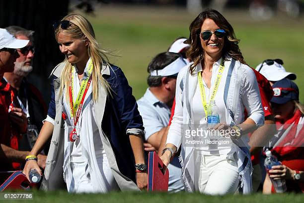 Grace Barber and Suzanne Torrance look on during singles matches of the 2016 Ryder Cup at Hazeltine National Golf Club on October 2 2016 in Chaska...