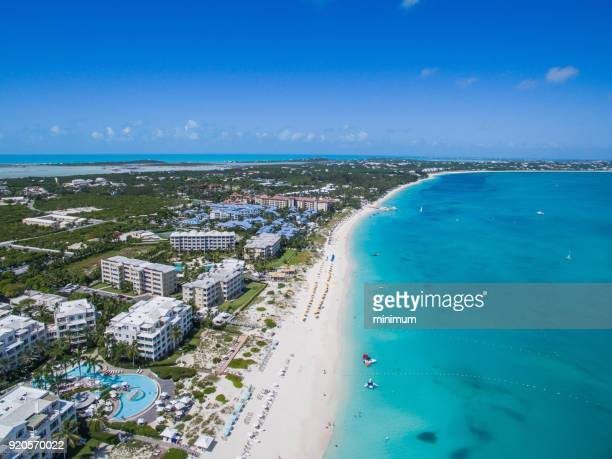 grace bay turks and caicos - grand bahama stock photos and pictures