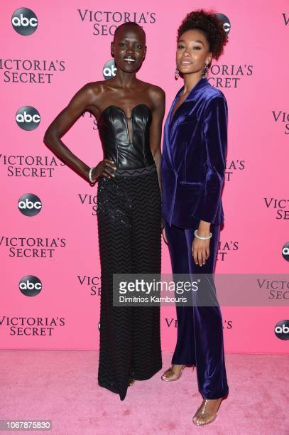 Grace Bol and Cheyenne Maya Carty attend the Victoria's Secret Viewing Party ar Spring Studios on December 2 2018 in New York City