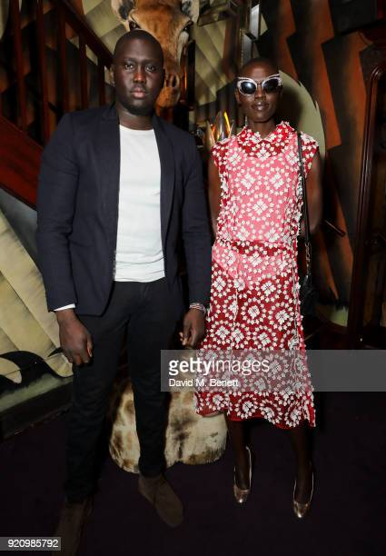 Grace Bol and Guest at LOVE and MIU MIU Women's Tales Party at Loulou's on February 19 2018 in London England