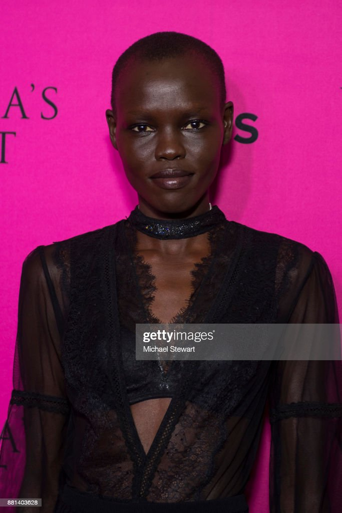 Grace Bol attends the 2017 Victoria's Secret Fashion Show viewing party pink carpet at Spring Studios on November 28, 2017 in New York City.