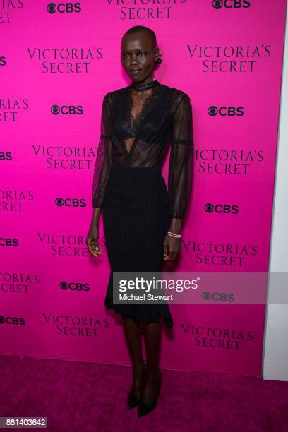 Grace Bol attends the 2017 Victoria's Secret Fashion Show viewing party pink carpet at Spring Studios on November 28 2017 in New York City