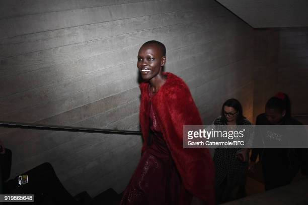 Grace Bol backstage ahead of the Roland Mouret show during London Fashion Week February 2018 at The National Theatre on February 18 2018 in London...