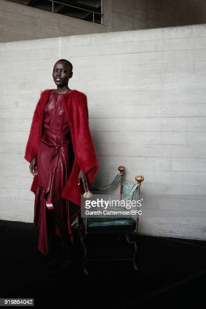 Grace Bol poses backstage ahead of the Roland Mouret show during London Fashion Week February 2018 at The National Theatre on February 18 2018 in...