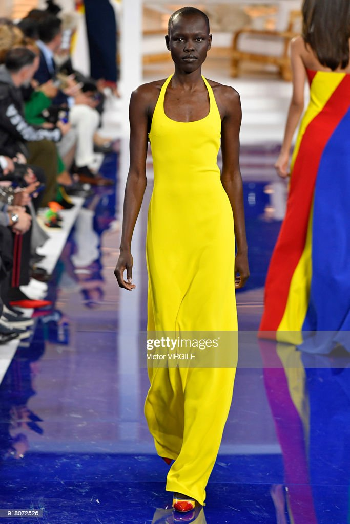 Grace Bol walks the runway at Ralph Lauren Ready to Wear Spring/Summer 2018 fashion show during the New York Fashion Week on February 12, 2018 in New York City.