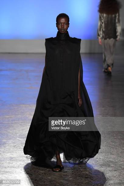 Grace Bol walks the runway at the Calcaterra show during Milan Fashion Week Spring/Summer 2018 on September 24 2017 in Milan Italy