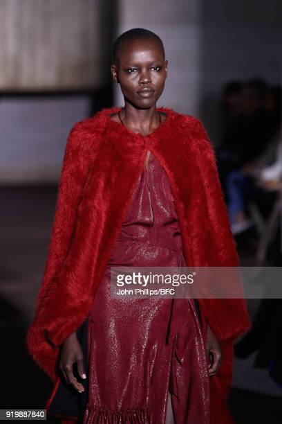 Grace Bol walks the runway at the Roland Mouret show during London Fashion Week February 2018 at The National Theatre on February 18 2018 in London...