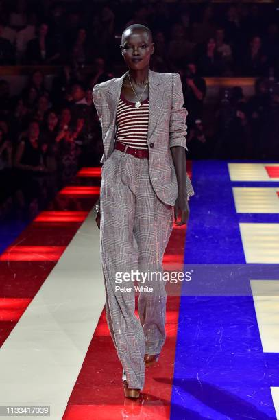 Grace Bol walks the runway during the Tommy Hilfiger TOMMYNOW Spring 2019 TommyXZendaya Premieres at Theatre des ChampsElysees on March 02 2019 in...