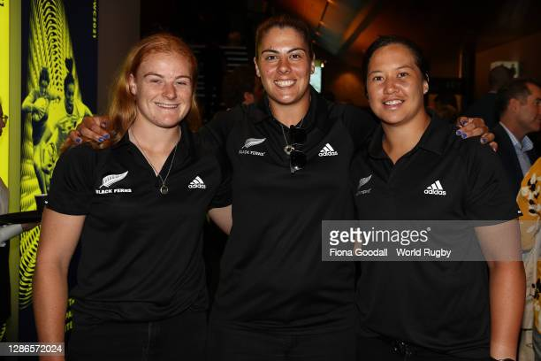Grace Brooker, Eloise Blackwell, and Charmaine McMenamin pose for a photograph during the Rugby World Cup 2021 Draw event at the SKYCITY Theatre on...