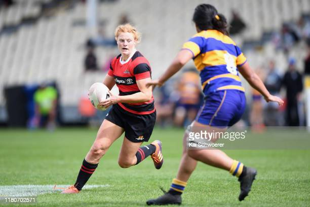 Grace Brooker of Canterbury charges forward during the Farah Palmer Cup Quarter Final match between Canterbury and Bay of Plenty at Orangetheory...