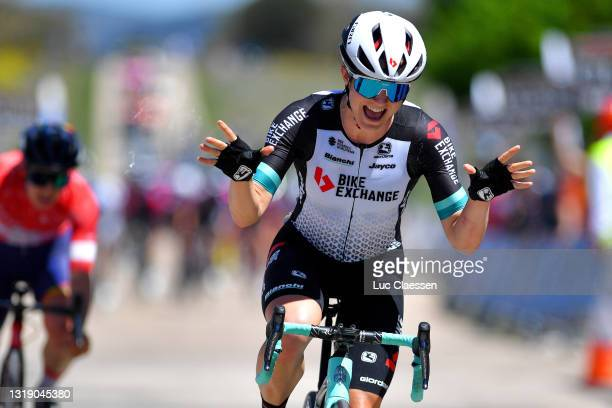 Grace Brown of Australia and Team BikeExchange celebrates at arrival during the 6th Vuelta a Burgos Feminas 2021 - Stage 1 a 100km stage from...