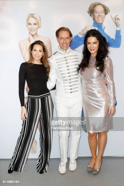 Grace Capristo Jens Hilbert and Mariella Ahrens during the presentation of the new hairfree campaign on February 6 2018 in Darmstadt Germany
