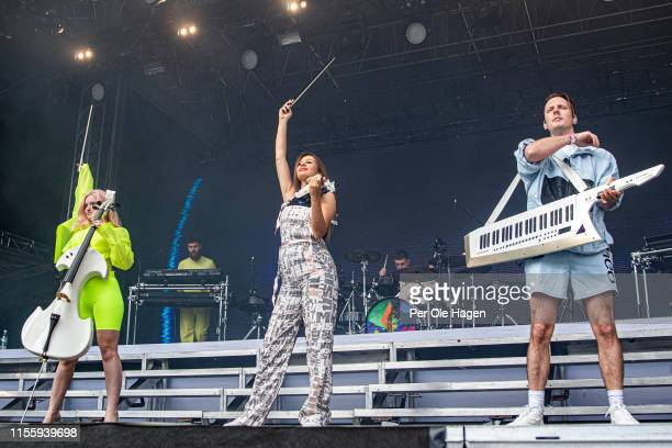 Grace Chatto Jack Patterson Stephanie Benedetti Luke Patterson and Sam Skirrow from Clean Bandit on stage at Bergenfest on June 14 2019 in Bergen...