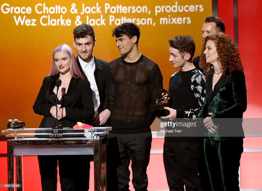 Grace Chatto (L) of the band Clean Bandit speaks onstage during The 57th Annual GRAMMY Awards premiere ceremony at STAPLES Center on February 8, 2015 in Los Angeles, California.