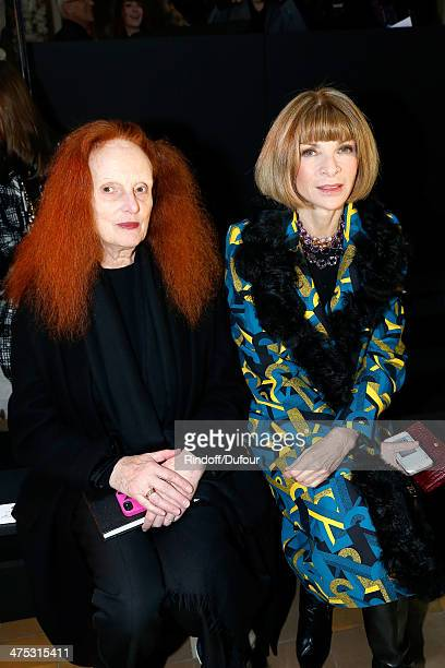 Grace Coddington and Anna Wintour attend the Lanvin show as part of the Paris Fashion Week Womenswear Fall/Winter 20142015 on February 27 2014 in...
