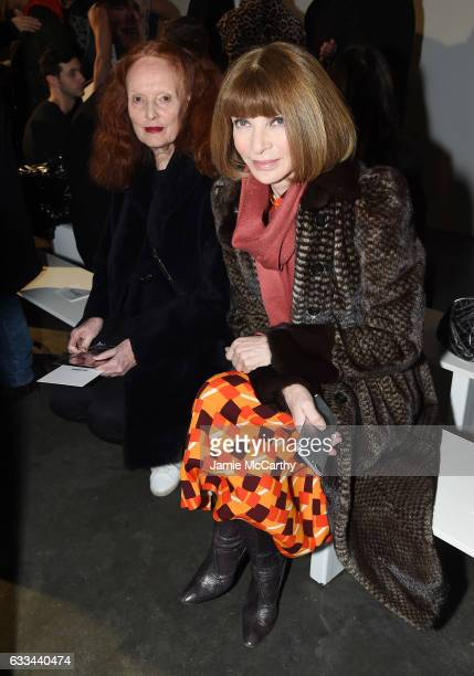 Grace Coddington and Anna Wintour attend the Raf Simons fashion show during NYFW Men'son February 1 2017 in New York City
