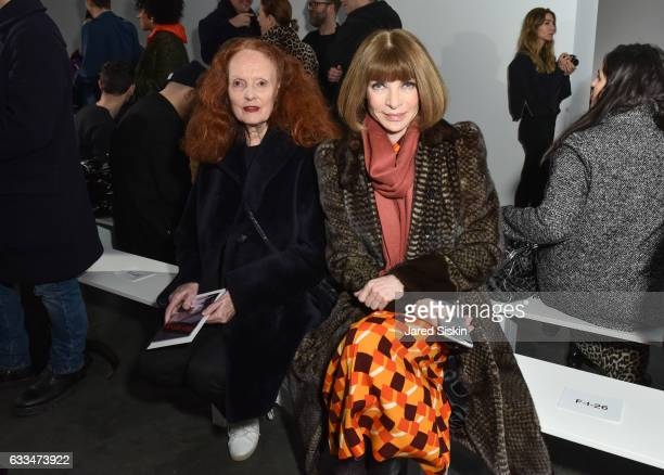 Grace Coddington and Anna Wintour attend the Raf Simons show during NYFW Men's on February 1 2017 in New York City