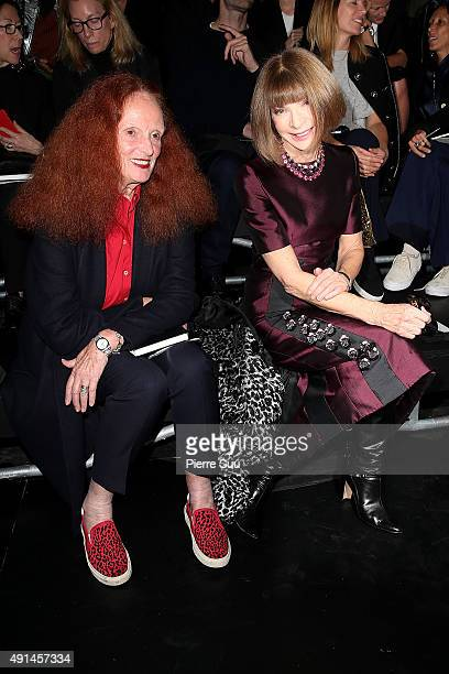 Grace Coddington and Anna Wintour attend the Saint Laurent show as part of the Paris Fashion Week Womenswear Spring/Summer 2016 on October 5 2015 in...