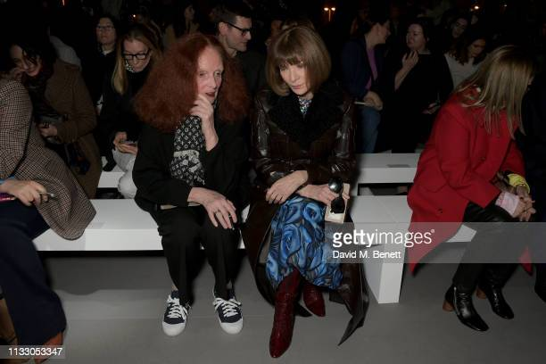 Grace Coddington and Anna Wintour attends the Celine show as part of Paris Fashion Week Womenswear Fall/Winter 2019/2020 on March 01 2019 in Paris...