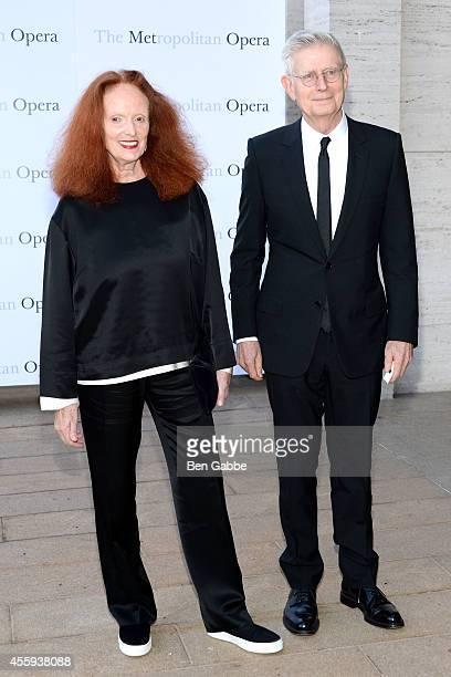 Grace Coddington and Didier Malige attend the Metropolitan Opera Season Opening at The Metropolitan Opera House on September 22 2014 in New York City