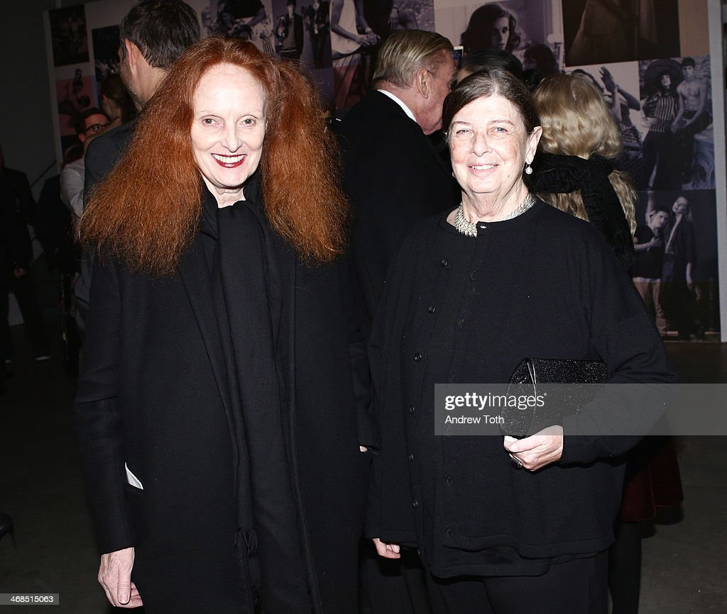 Grace Coddington (L) and Nan Bush attend the dinner to celebrate the Brothers, Sisters, Sons And Daughters Spring 2014 campaign launch on February 10, 2014 in New York City.