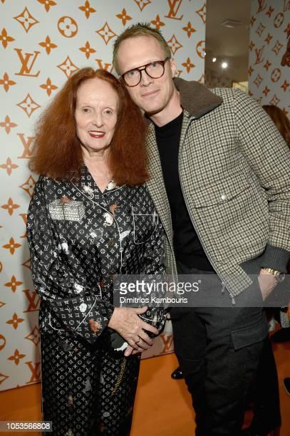 Grace Coddington and Paul Bettany attend the Louis Vuitton X Grace Coddington Event on October 25 2018 in New York City