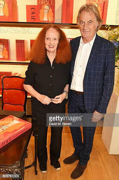 Grace Coddington and Sir Paul Smith attend the launch of new book 'Grace The American Vogue Years' by Grace Coddington hosted by Sir Paul Smith at...