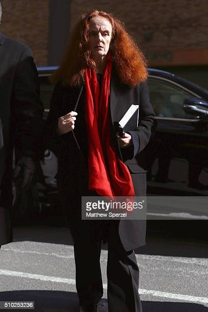 Grace Coddington arrives at the Derek Lam Fall 2016 fashion show during New York Fashion Week The Shows at The Gallery Skylight at Clarkson Sq on...