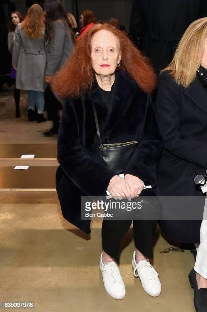 Grace Coddington attends Carolina Herrera Collection during New York Fashion Week on February 13 2017 in New York City