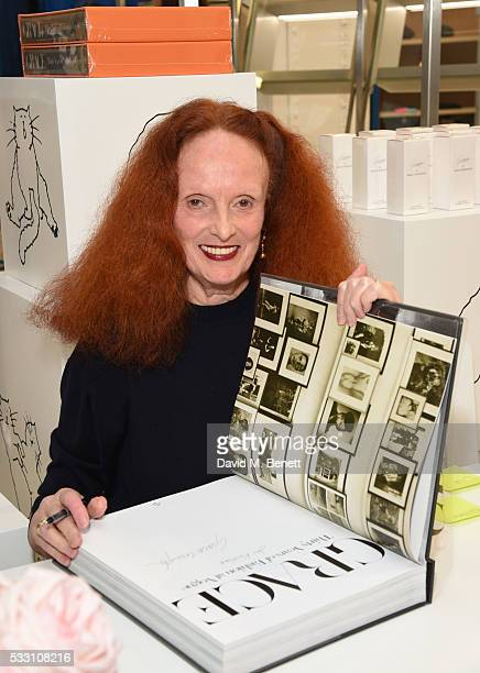 Grace Coddington attends the launch of Grace Coddington's new fragrance 'GRACE' with Comme Des Garcons at Dover Street Market on May 20 2016 in...