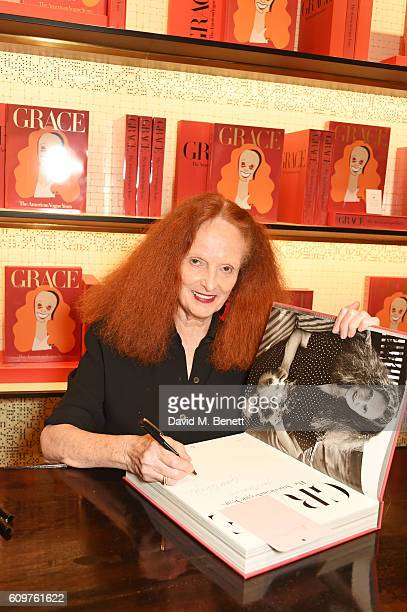 Grace Coddington attends the launch of new book 'Grace The American Vogue Years' by Grace Coddington hosted by Sir Paul Smith at Paul Smith Albemarle...