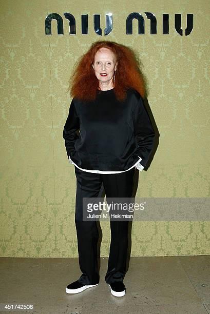 Grace Coddington attends the Miu Miu Resort Collection 2015 at Palais d'Iena on July 5 2014 in Paris France