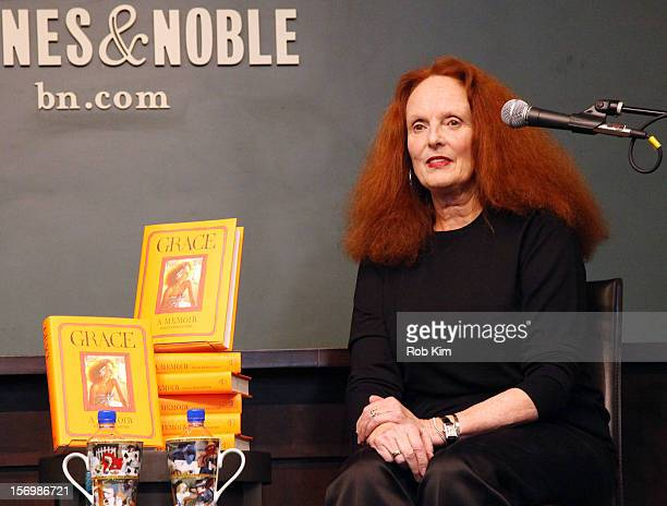 Grace Coddington creative director of American Vogue signs copies of her new book 'Grace A Memoir' at Barnes Noble Union Square on November 26 2012...