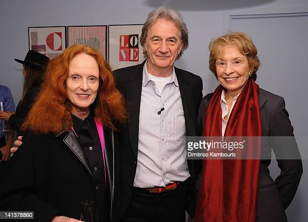 Grace Coddington designer Paul Smith and Grace Mirabella attend the Paul Smith New York 25th Anniversary celebration on March 14 2012 in New York City