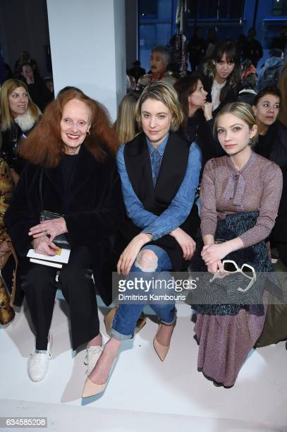 Grace Coddington Greta Gerwig and a guest attend the Calvin Klein Collection Front Row during New York Fashion Week on February 10 2017 in New York...
