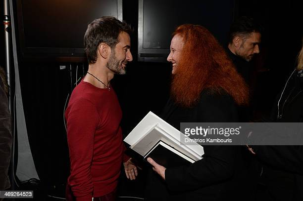 Grace Coddington speaks with designer Marc Jacobs backstage at the Marc Jacobs fashion show during MercedesBenz Fashion Week Fall 2014 at Lexington...