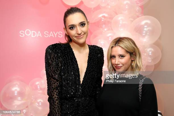 Grace Could and Ashley Tisdale attend Soda Says Celebrates US Launch on November 07, 2018 in Los Angeles, California.