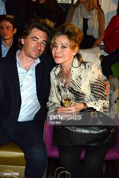Grace de Capitani and Jean Pierre Jacquin attend 'Le Salon Sur L'Eau Marrezziani And Le Cap Swimming Suits' Show Cocktail At Quai Marcel Dassault on...