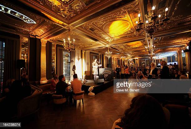 Grace Dent speaks at the launch of Baileys new sleek bottle design at the Cafe Royal hotel on March 21 2013 in London England