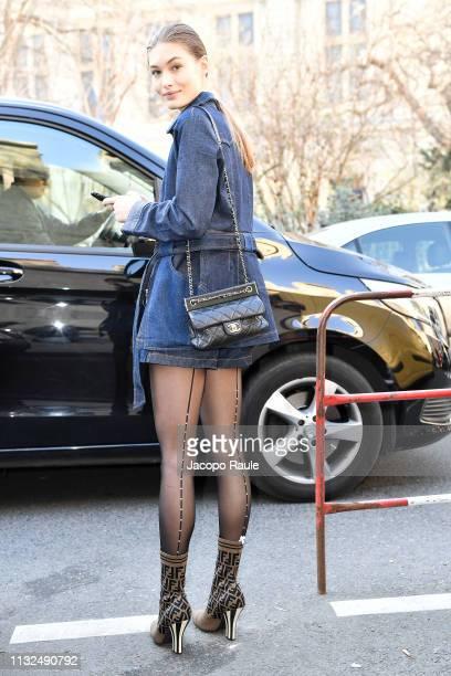 Grace Elizabeth is seen arriving at Lanvin show duirng Paris Fashion Week Womenswear Fall/Winter 2019/2020 on February 27 2019 in Paris France