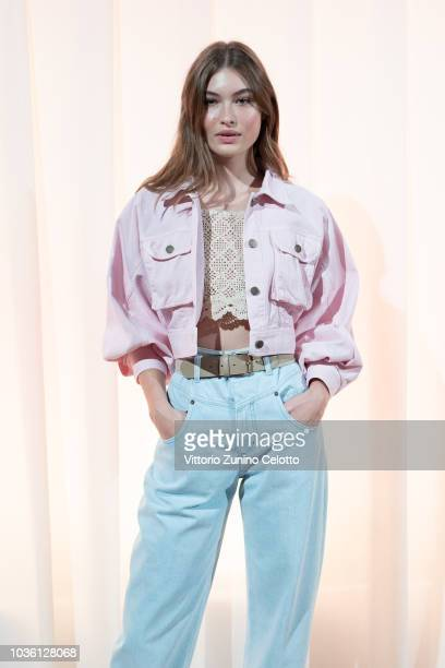 Grace Elizabeth is seen backstage ahead of the Alberta Ferretti show during Milan Fashion Week Spring/Summer 2019 on September 19 2018 in Milan Italy