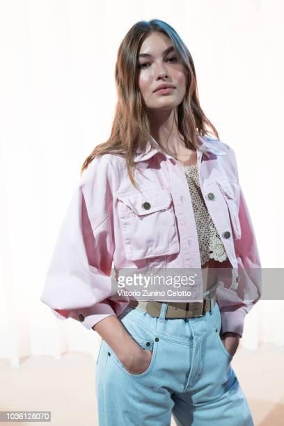 Grace Elizabeth is seen backstage ahead of the Alberta Ferretti show during Milan Fashion Week Spring/Summer 2019 on September 19, 2018 in Milan,...