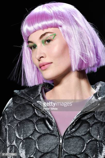 Grace Elizabeth walks the runway at Jeremy Scott Show Fall 2018 during New York Fashion Week The Shows at Gallery I at Spring Studios on February 8...