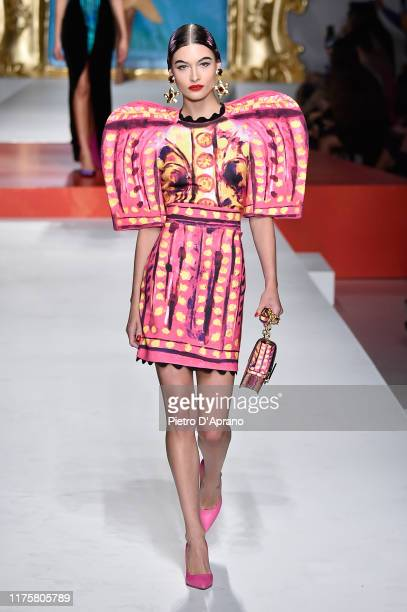 Grace Elizabeth walks the runway at the Moschino show during the Milan Fashion Week Spring/Summer 2020 on September 19 2019 in Milan Italy