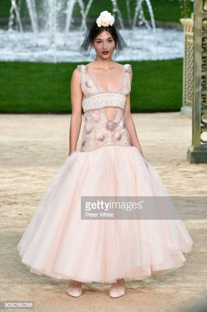 Grace Elizabeth walks the runway during the Chanel Spring Summer 2018 show as part of Paris Fashion Week on January 23 2018 in Paris France