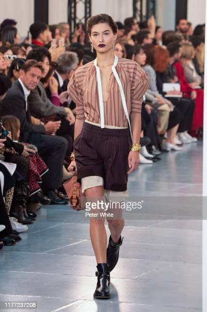 Grace Elizabeth walks the runway during the Chloe Womenswear Spring/Summer 2020 show as part of Paris Fashion Week on September 26, 2019 in Paris,...