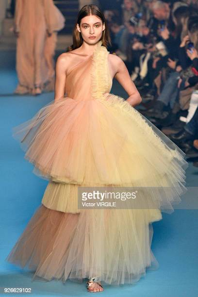 Grace Elizabeth walks the runway during the OffWhite Ready to Wear Fall/Winter 20182019 fashion show as part of the Paris Fashion Week Womenswear...