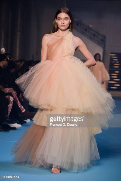 Grace Elizabeth walks the runway during the OffWhite show as part of the Paris Fashion Week Womenswear Fall/Winter 2018/2019 on March 1 2018 in Paris...