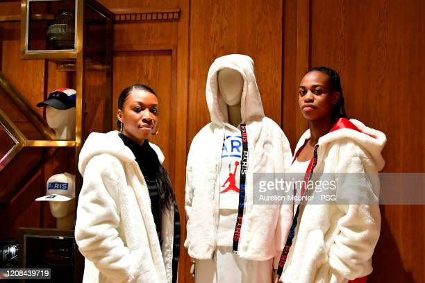 Grace Geyoro and Marie Antoinette Katoto of Paris SaintGermain Women attend the release of the new Jordan Women's collection at Galeries Lafayette on...